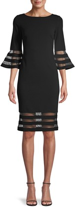 Calvin Klein Sheer Striped Sheath Dress