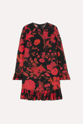 Valentino Ruffled Floral-print Silk Crepe De Chine Midi Dress - Black