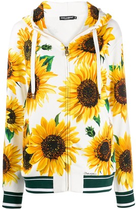 Dolce & Gabbana Sunflower-Print Zipped Hoodie