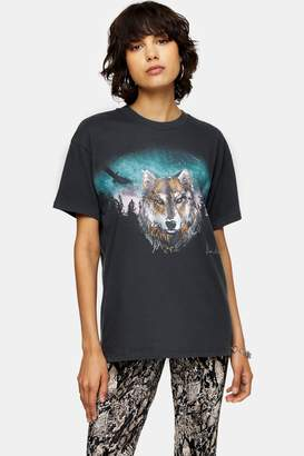 Topshop Charcoal Grey Night Wolf T-Shirt
