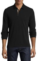 Burberry Long-Sleeve Oxford Polo Shirt, Black