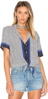 Equipment Keria Front Tie Blouse in Navy. - size XS (also in )