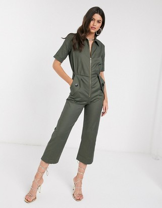 Closet London Closet boiler suit in khaki