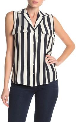 Frame True Stripe Print Sleeveless Silk Shirt