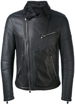 Drome - contrast collar biker jacket - men - Leather - M
