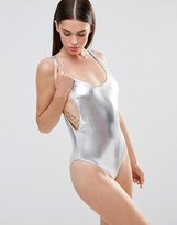 Missguided High Leg Drop Arm Swimsuit