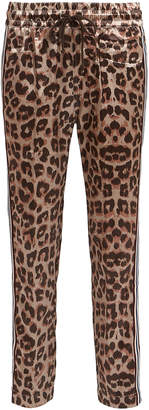Mother The Lounger Leopard Satin Joggers