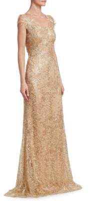 David Meister Sequin Floral Gown