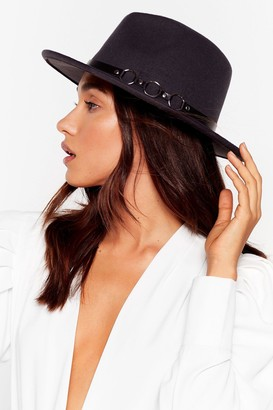 Nasty Gal Womens We Don't Know a Ring Faux Wool Fedora Hat - Grey - ONE SIZE, Grey