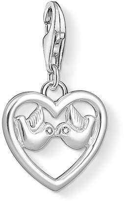Thomas Sabo Unisex Heart with Doves 925 Sterling Silver Zirconia Charm Pendant 1383-051-14