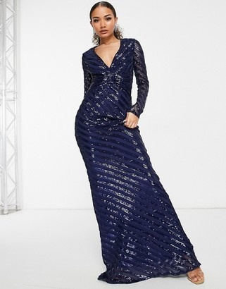 Goddiva long sleeve fishtail sequin maxi dress in navy