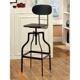 Laurèl Renfrow Adjustable Height Swivel Bar Stool Foundry Modern Farmhouse Color: Black