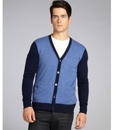 Harrison denim and navy cashmere colorblock cardigan sweater