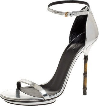 Gucci Silver Leather Bamboo Heel Ankle Strap Sandals Size 39