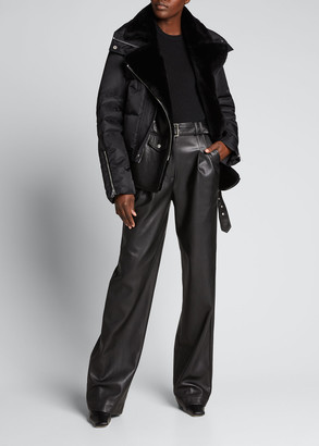 Nicole Benisti Haydon Mixed-Media Biker Jacket