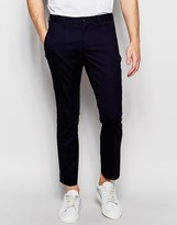 Selected Homme Skinny Fit Cropped Trousers With Zip Pockets And Stretch