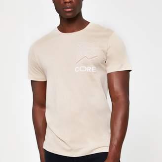 Jack and Jones Mens River Island Beige printed T-shirt