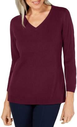 Karen Scott Petite Relaxed-Fit V-Neck Sweater