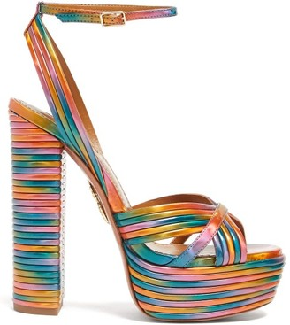 Aquazzura Sundance 140 Rainbow Leather Platform Sandals - Womens - Multi