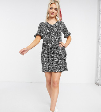 Wednesday's Girl mini smock dress in monochrome floral