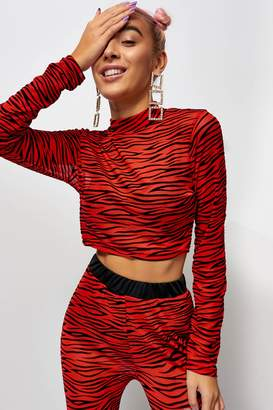 Jaded London Womens **Zebra Mesh Crop Top By Red