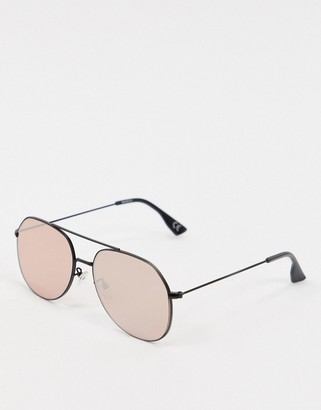 ASOS DESIGN matt black aviator sunglasses with rose gold lens