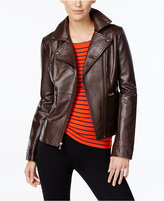GUESS Asymmetrical-Zip Faux-Leather Moto Jacket
