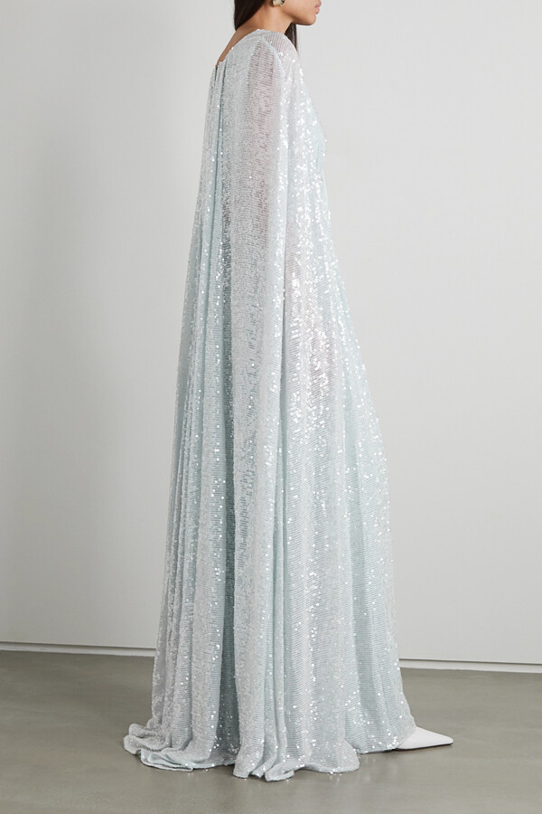 Thumbnail for your product : Erdem Kenley Cape-effect Sequined Tulle Gown - Blue