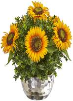 """Nearly Natural 16"""" Sunflower Artificial Arrangement in Silver Vase"""