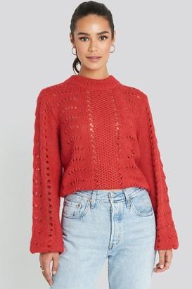 NA-KD Pattern Knitted Round Neck Sweater Beige