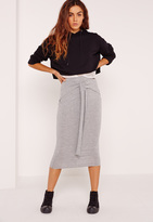 Missguided Tie Front Midi Skirt Grey