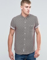 NATIVE YOUTH Broken Stripe Print Short Sleeve shirt