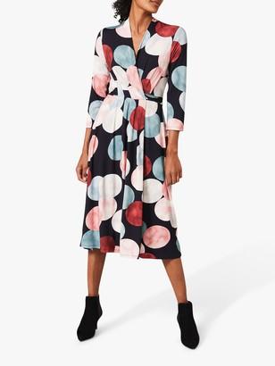 Phase Eight Piper Spot Print Wrap Dress, Navy/Multi