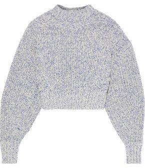 Rebecca Minkoff Bowie Cropped Ribbed Melange Cotton-blend Sweater