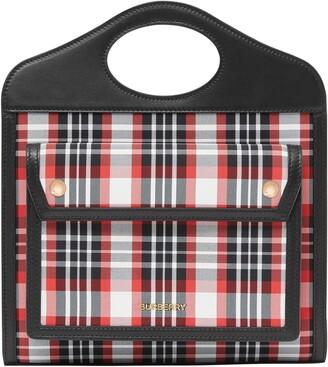 Burberry Mini Tartan Nylon & Leather Pocket Bag