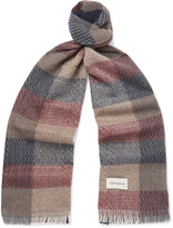 Oliver Spencer Kirkstall Fringed Checked Knitted Scarf
