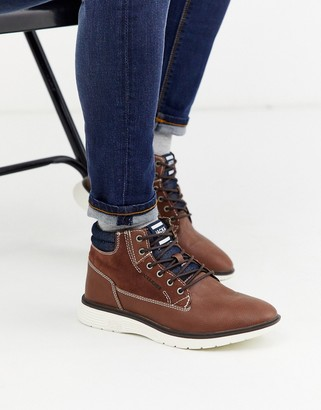 Jack and Jones PU leather contrast sole casual boots in brown