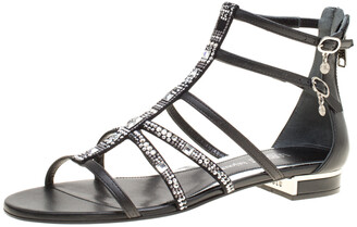 Loriblu Black Leather Crystal Embellished Gladiator Flat Sandals Size 38