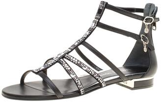 Loriblu Black Leather Crystal Embellished Gladiator Flat Sandals Size 38