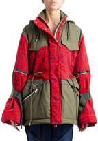 Sacai Hooded Bandana-Motif Two-Tone Oversized Quilted Coat