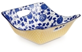 Certified International Chelsea Collection Indigo Poppy Square Bowl with Open Handles