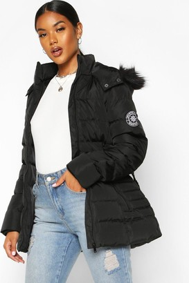 boohoo Faux Fur Hooded Belted Parka