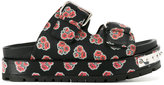 Alexander McQueen hobnail poppy print sliders - women - Calf Leather/Leather/rubber - 36