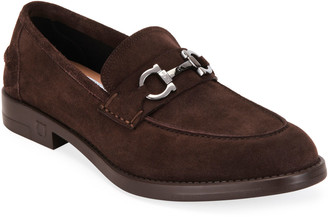 Salvatore Ferragamo Men's Arlin Suede Gancini-Bit Loafers