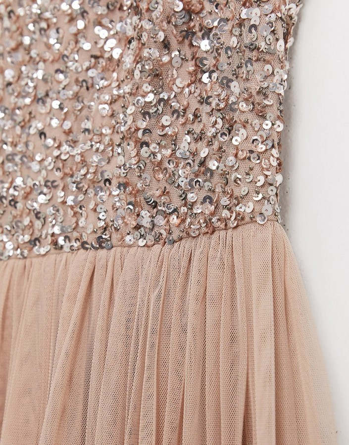Thumbnail for your product : Maya Bridesmaid sleeveless square neck maxi tulle dress with tonal delicate sequin overlay in taupe blush