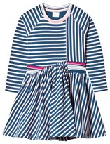 No Added Sugar Pink and Blue Jersey Dress with Stripe Trim