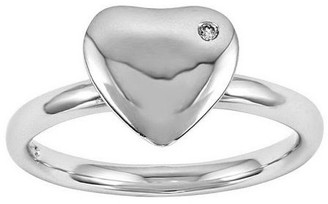 Simply Stacks Sterling Polished Diamond AccentHeart Ring