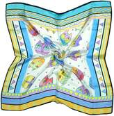 Bees Knees Fashion White Blue Cat Print Fine Pure Silk Square Scarf