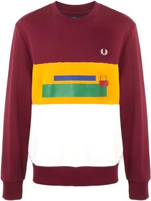 Fred Perry Logo Print Stripe Sweatshirt