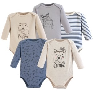 Yoga Sprout Baby Vision 0-24 Months Unisex Baby Cotton Bodysuits, Long-Sleeve 5-Pack
